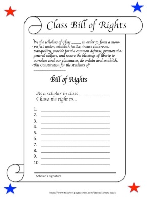 Classroom Constitution for Constitution Day!